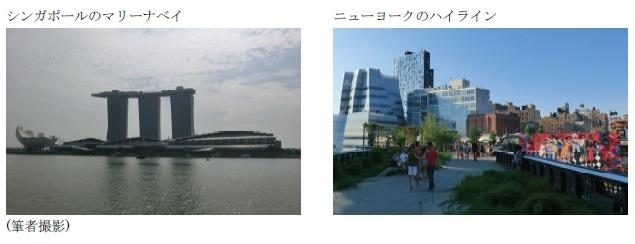 (左)シンガポールのマリーナベイ (右)ニューヨークのハイライン